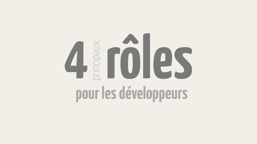 4 rôles principaux pour les développeurs