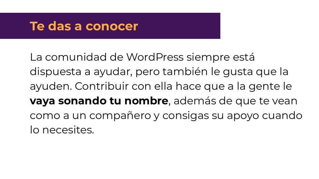 Te das a conocer La comunidad de WordPress siem...