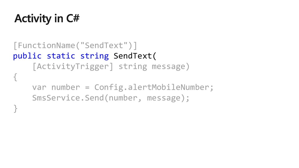 "[FunctionName(""SendText"")] public static string..."