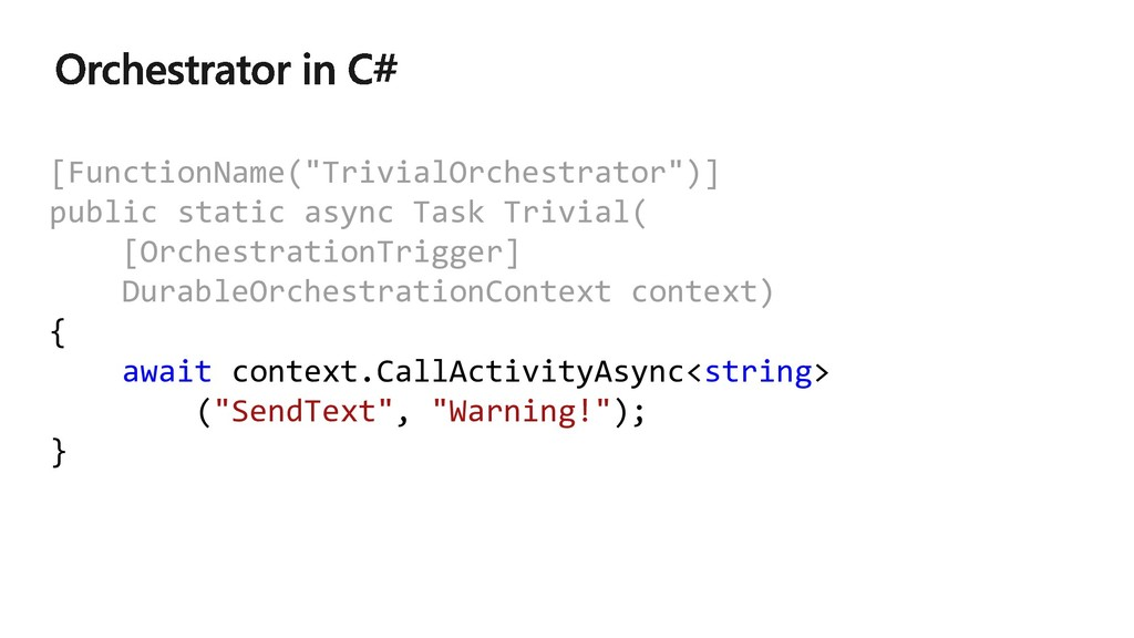 "[FunctionName(""TrivialOrchestrator"")] public st..."