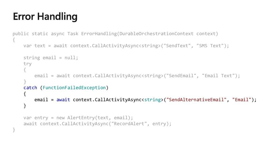 public static async Task ErrorHandling(DurableO...