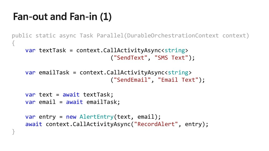 public static async Task Parallel(DurableOrches...