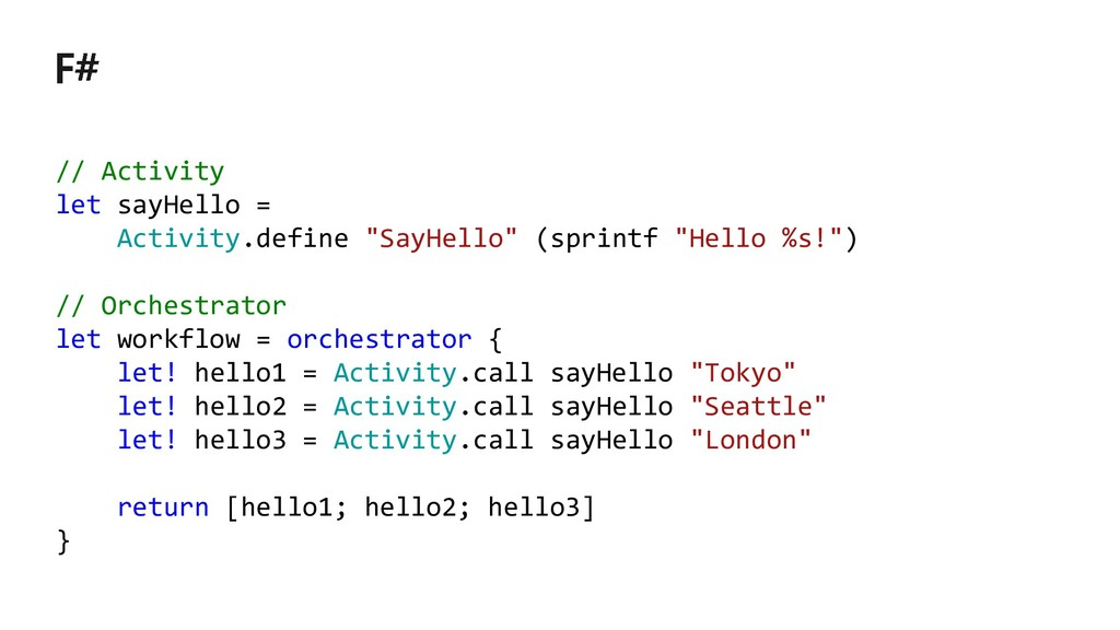 "// Activity let sayHello = Activity.define ""Say..."