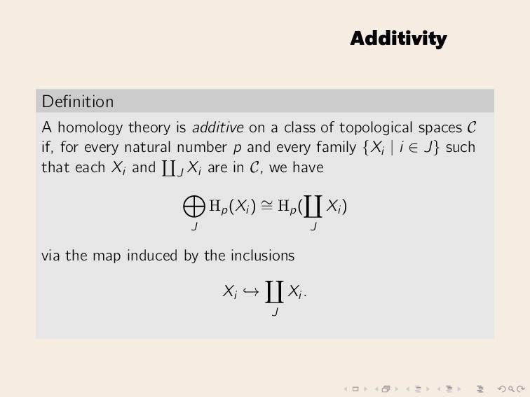 Additivity Definition A homology theory is addit...