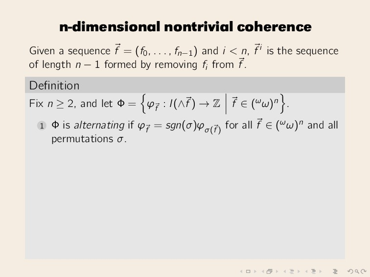 n-dimensional nontrivial coherence Given a sequ...