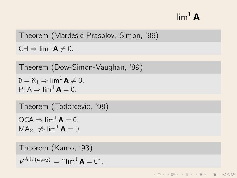 lim1 A Theorem (Mardeˇ si´ c-Prasolov, Simon, '...