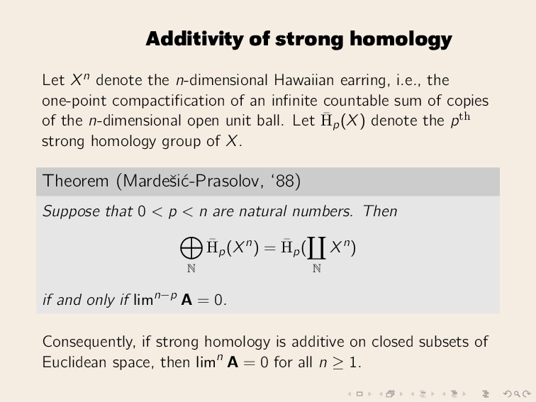 Additivity of strong homology Let Xn denote the...