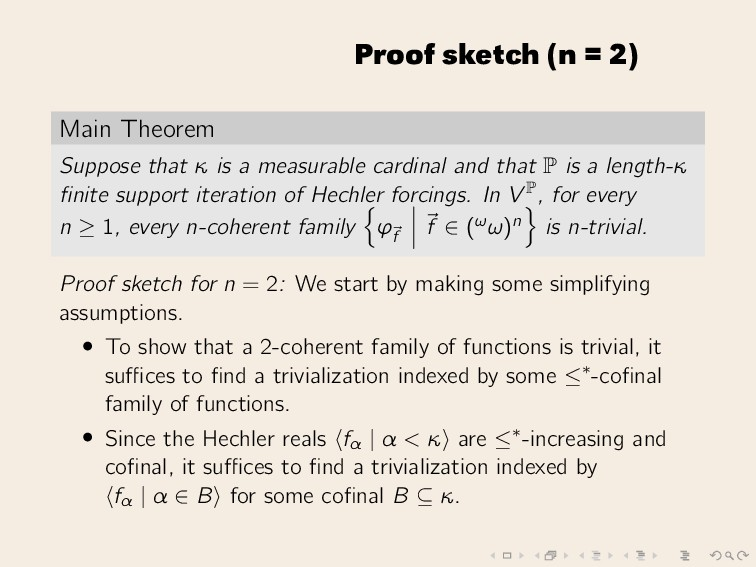 Proof sketch (n = 2) Main Theorem Suppose that ...
