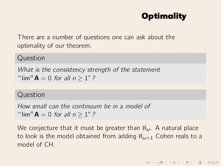 Optimality There are a number of questions one ...
