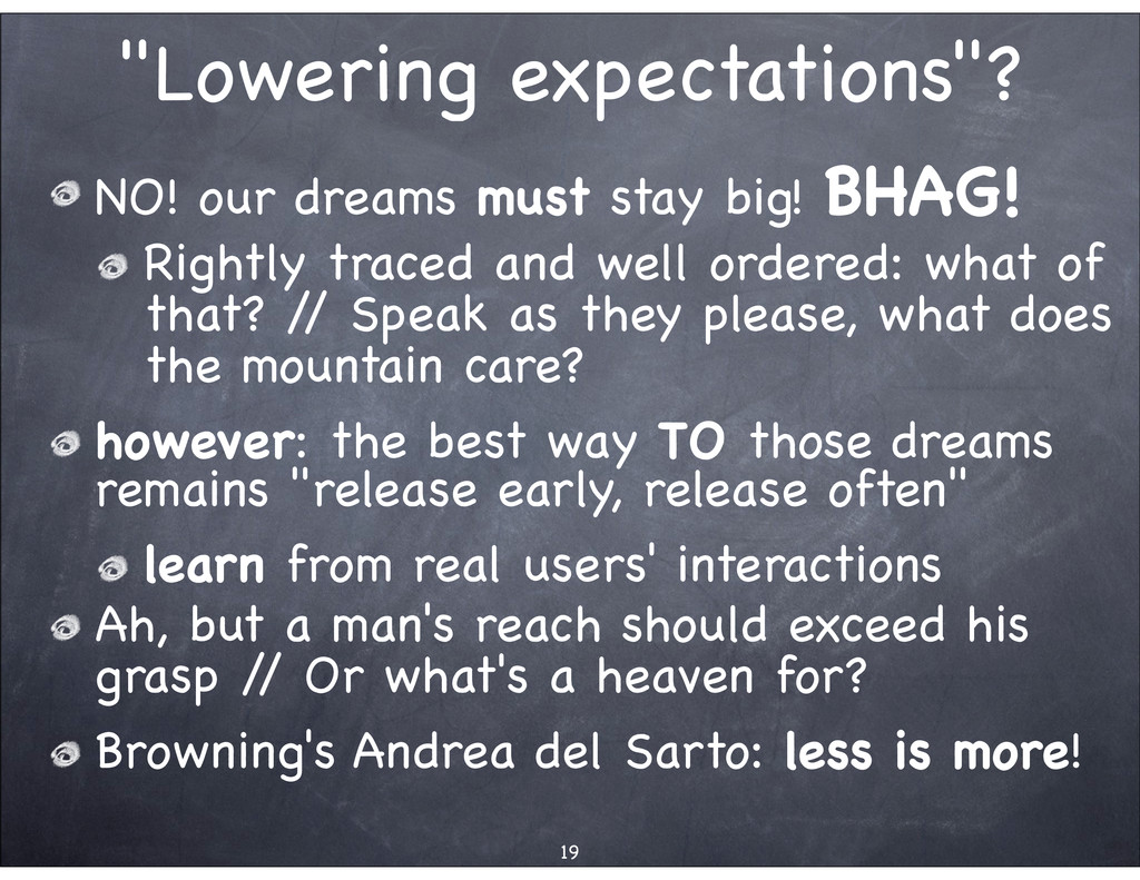 """""""Lowering expectations""""? NO! our dreams must st..."""