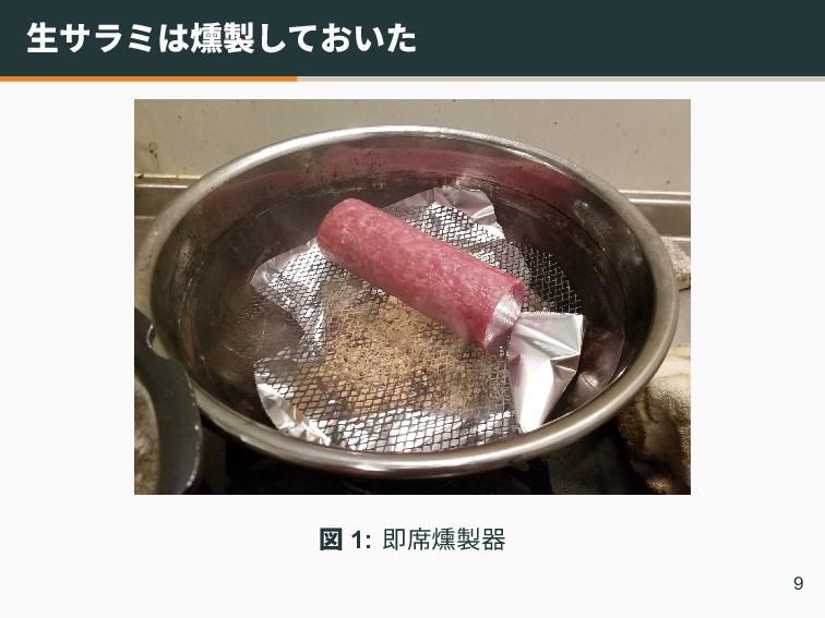 生サラミは燻製しておいた 図 1: 即席燻製器 9