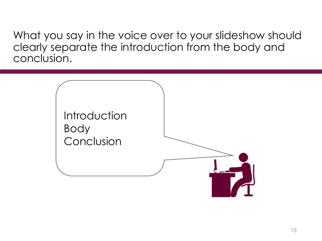 15 Introduction Body Conclusion What you say in...