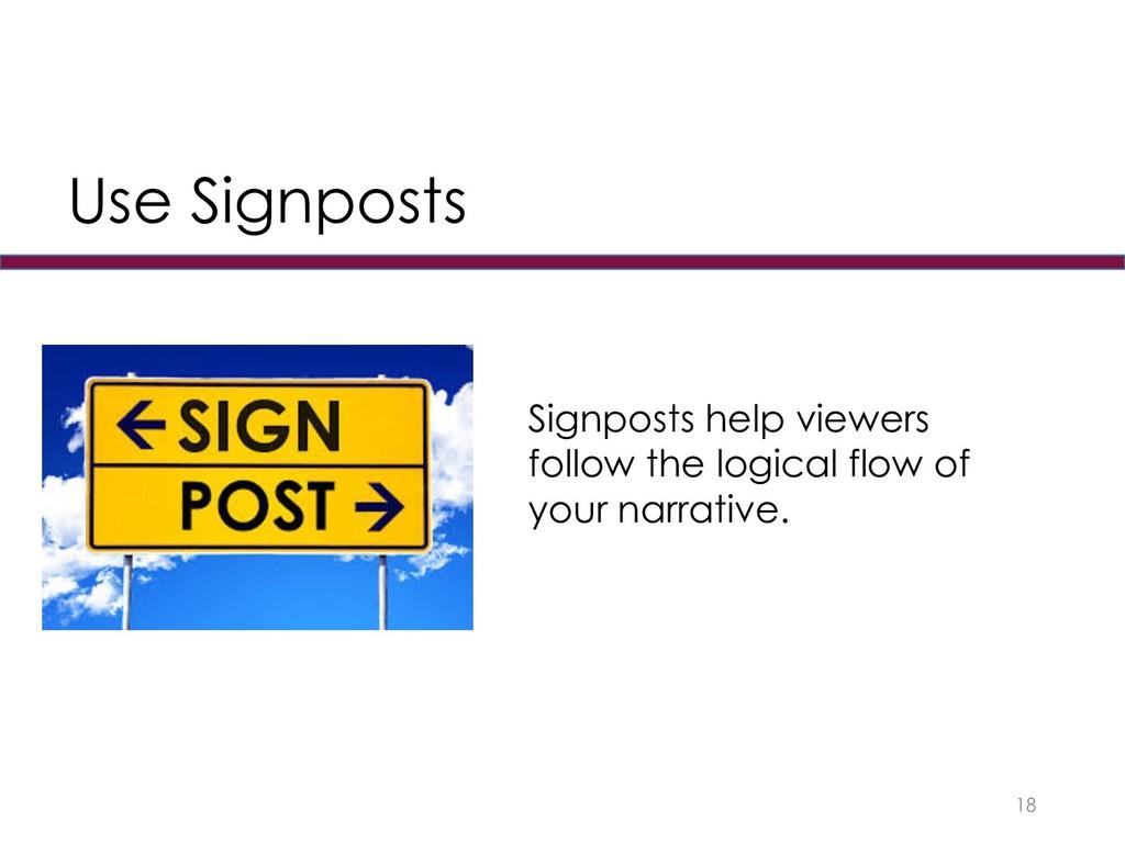 18 Signposts help viewers follow the logical fl...