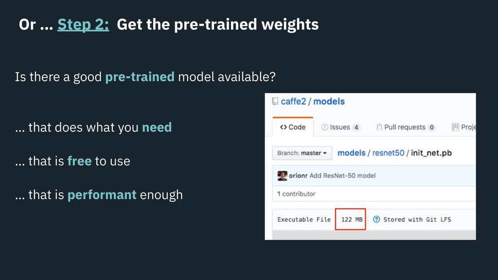 Or … Step 2: Get the pre-trained weights Is the...