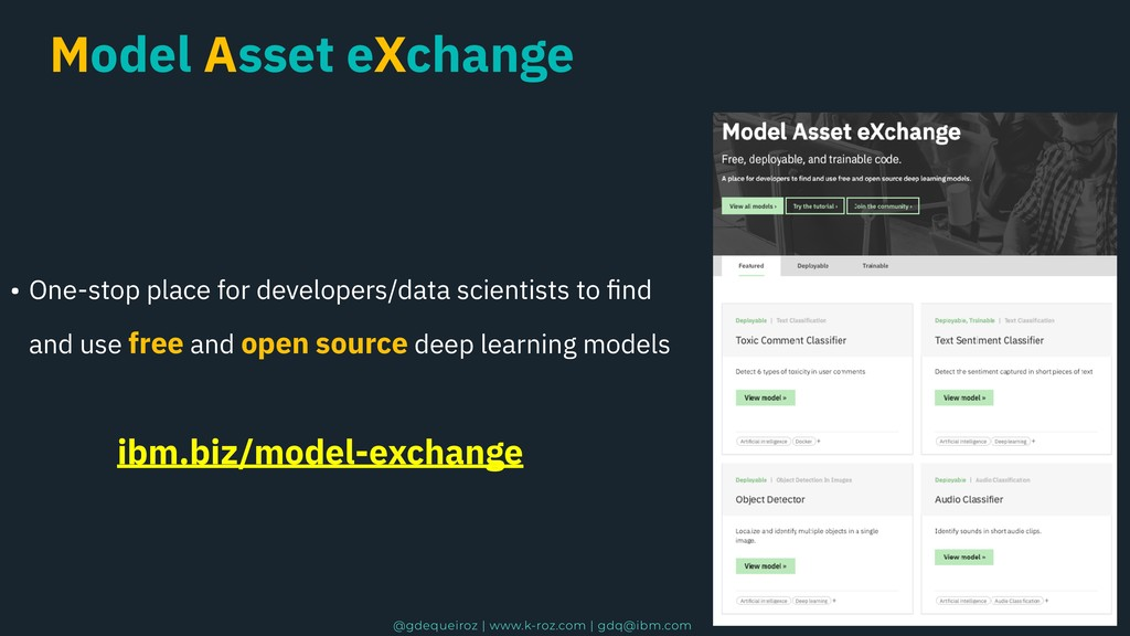 Model Asset eXchange • One-stop place for devel...