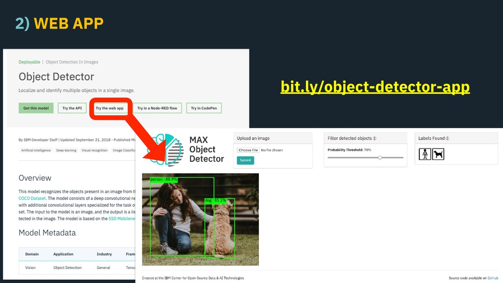 2) WEB APP bit.ly/object-detector-app