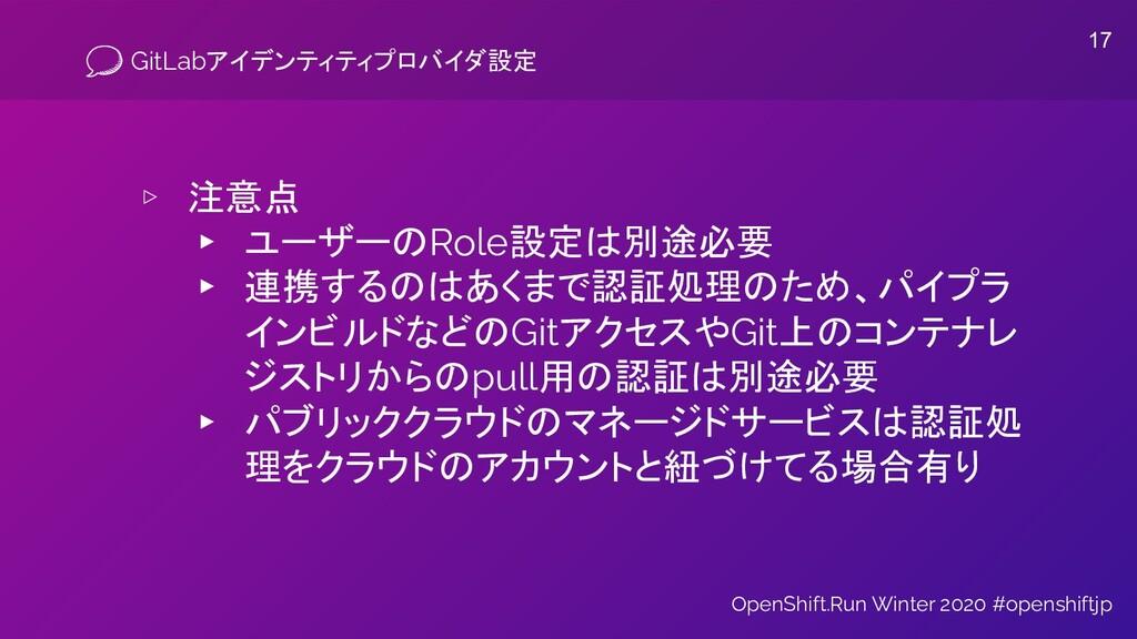 GitLabアイデンティティプロバイダ設定 ▹ 注意点 ▸ ユーザーのRole設定は別途必要 ...