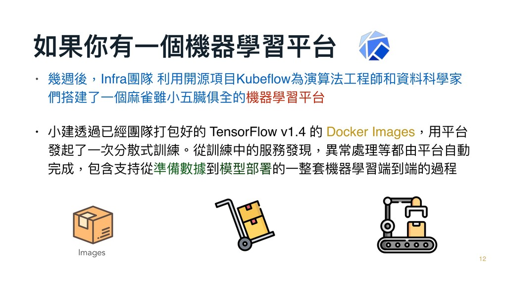 如果你有⼀一個機器學習平台 12 • 幾週後,Infra團隊 利利⽤用開源項⽬目Kubeflow...