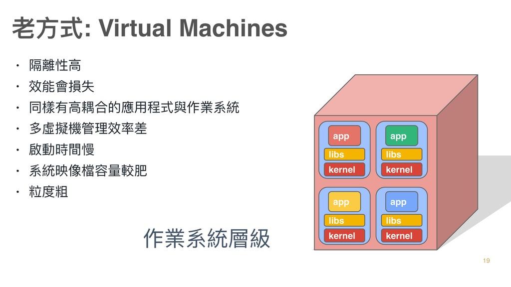 • 隔離性⾼高 • 效能會損失 • 同樣有⾼高耦合的應⽤用程式與作業系統 • 多虛擬機管理理效...