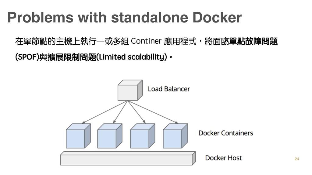 Problems with standalone Docker 在單節點的主機上執行一或多組 ...