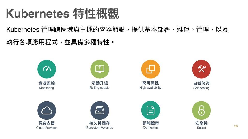 Kubernetes 特性概觀 Kubernetes 管理理跨區域與主機的容器節點,提供基本部...