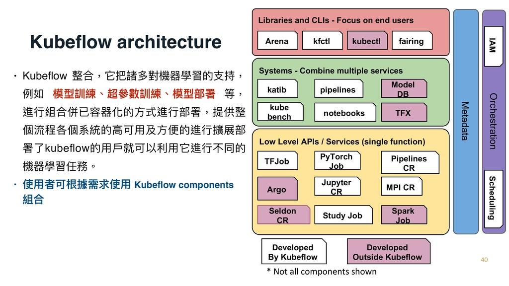 Kubeflow architecture • Kubeflow 整合,它把諸多對機器學習的⽀支持...