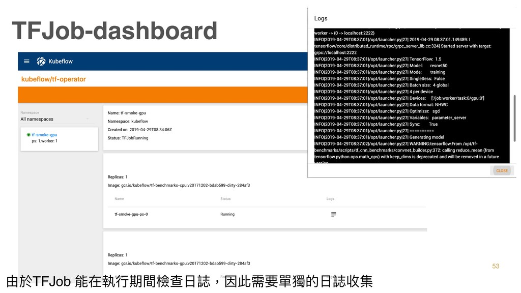 TFJob-dashboard 53 由於TFJob 能在執⾏行行期間檢查⽇日誌,因此需要單獨...