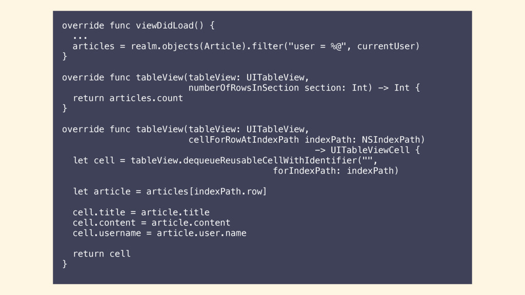 override func viewDidLoad() { ... articles = re...