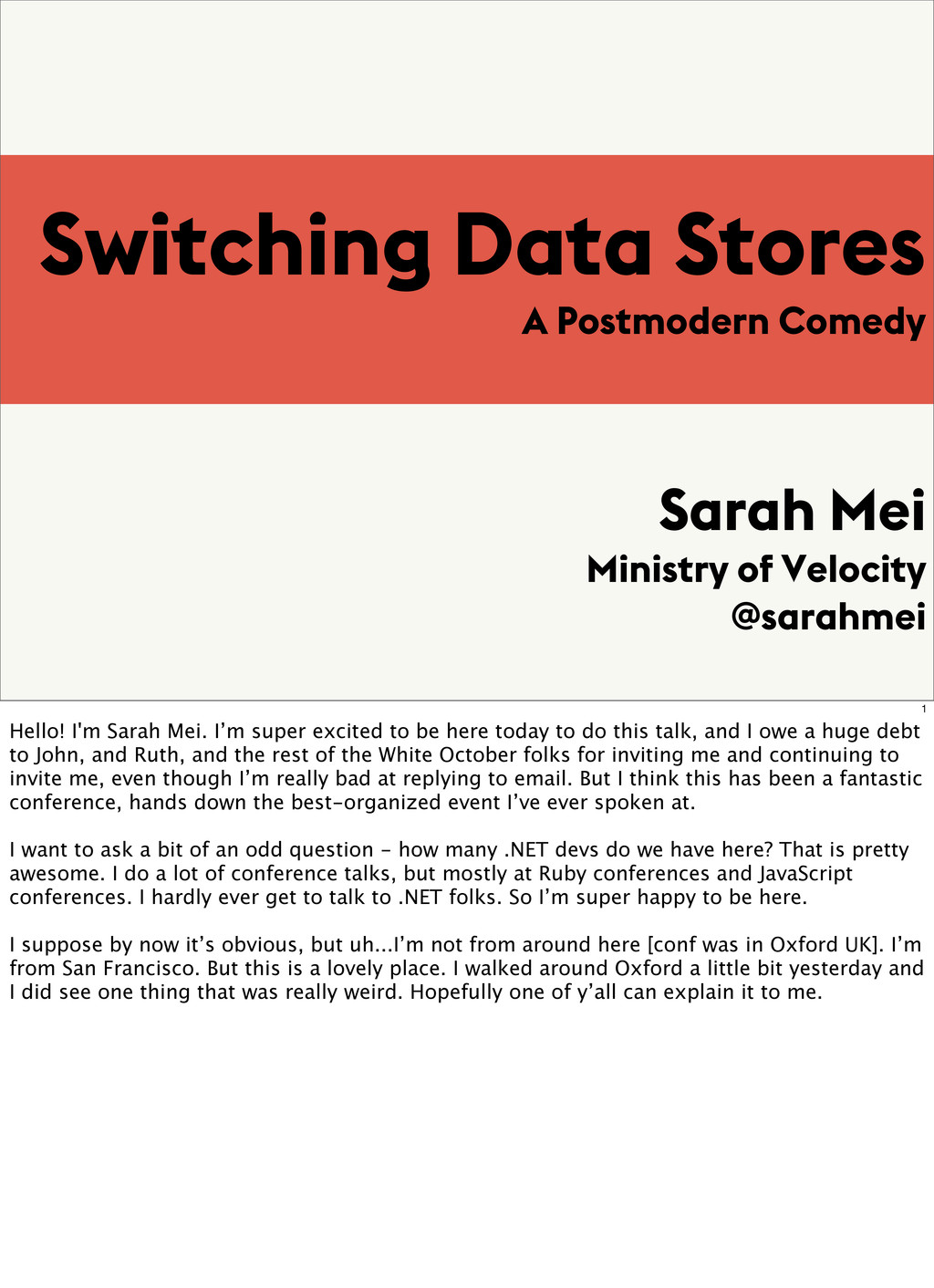 Switching Data Stores A Postmodern Comedy Sarah...
