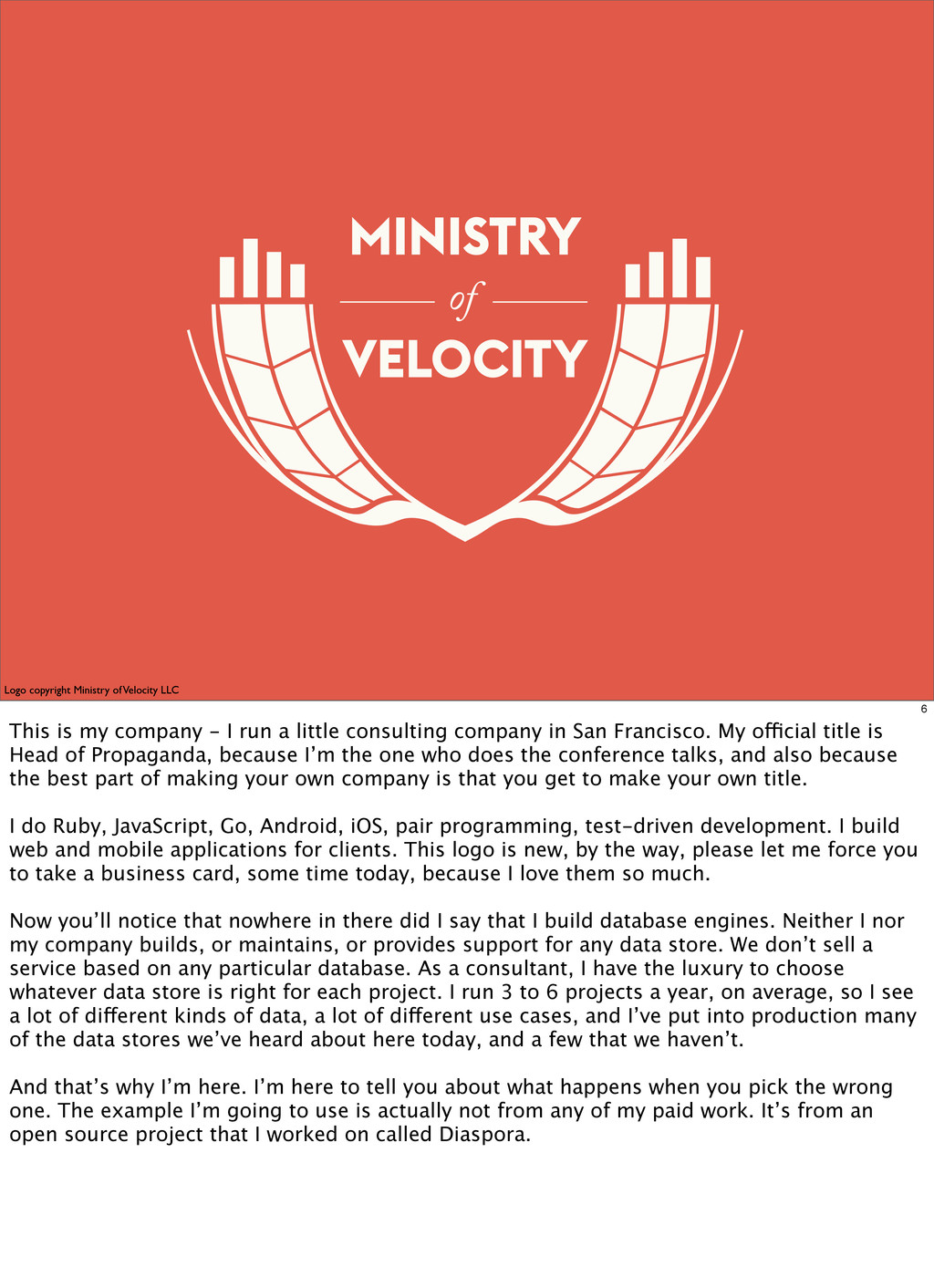 of Logo copyright Ministry of Velocity LLC 6 Th...