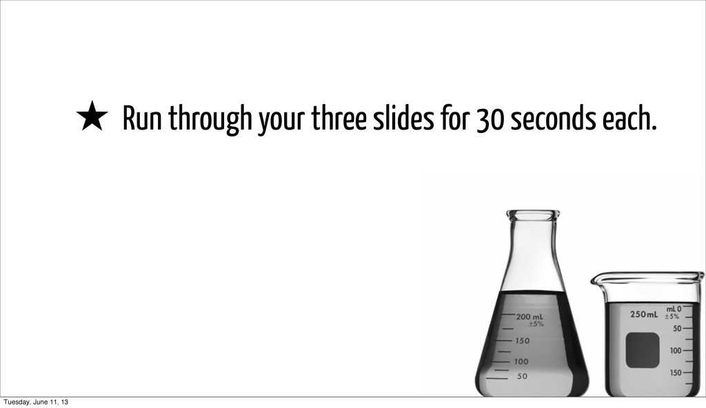 ★ Run through your three slides for 30 seconds ...