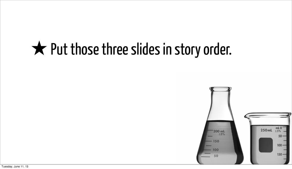 ★ Put those three slides in story order. Tuesda...