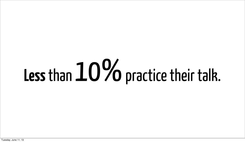 Less than 10% practice their talk. Tuesday, Jun...