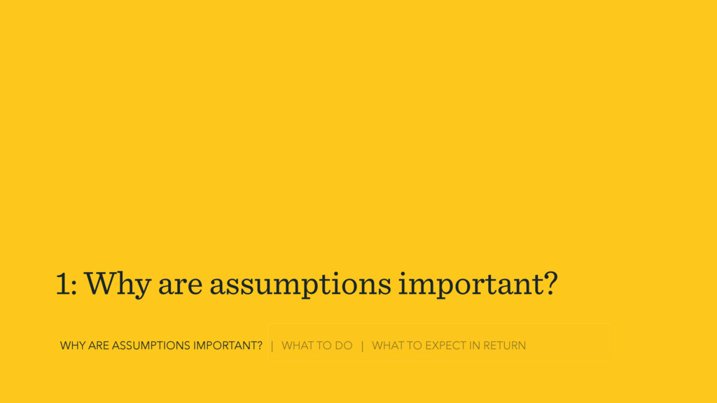 1: Why are assumptions important? WHY ARE ASSUM...