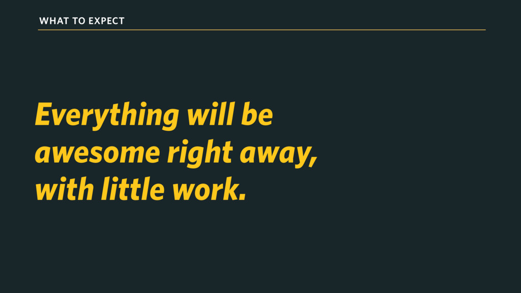 WHAT TO EXPECT Everything will be awesome right...