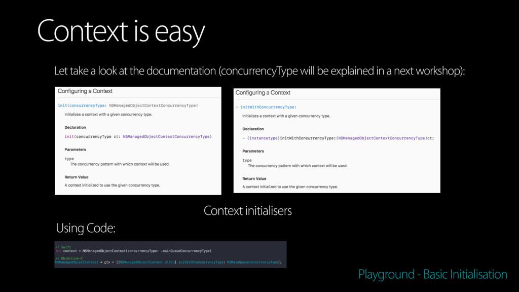 Playground - Basic Initialisation Context is ea...