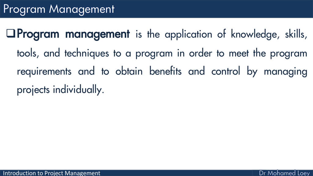 Introduction to Project Management Program man...