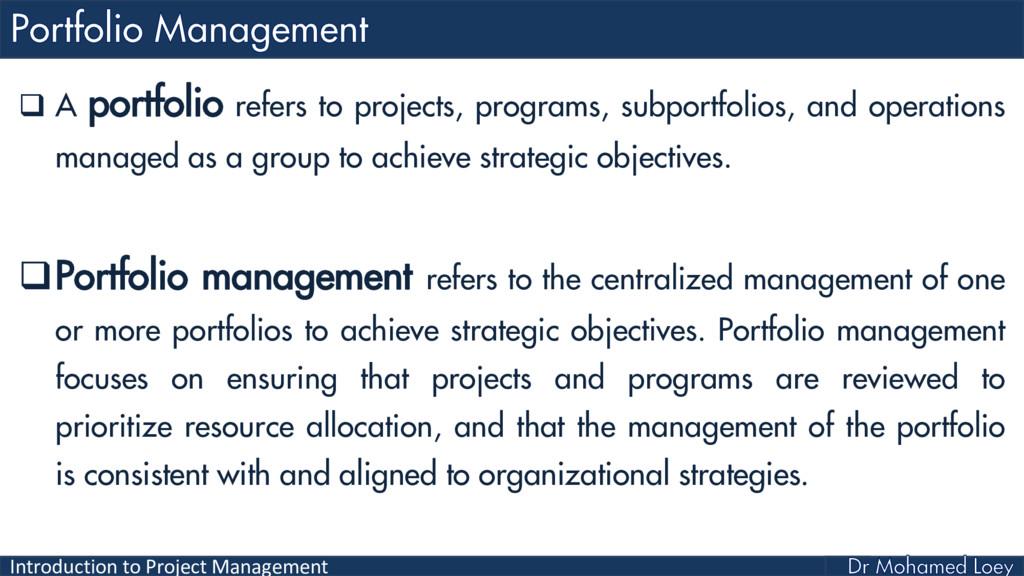 Introduction to Project Management  A portfoli...