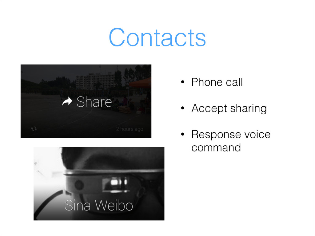 Contacts • Phone call • Accept sharing • Respon...