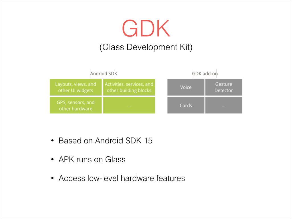 GDK (Glass Development Kit) • Based on Android ...