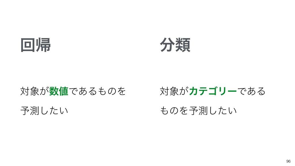 96 ྨ ճؼ ର͕Ͱ͋ΔͷΛ ༧ଌ͍ͨ͠ ର͕ΧςΰϦʔͰ͋Δ ͷΛ༧ଌ͍ͨ͠