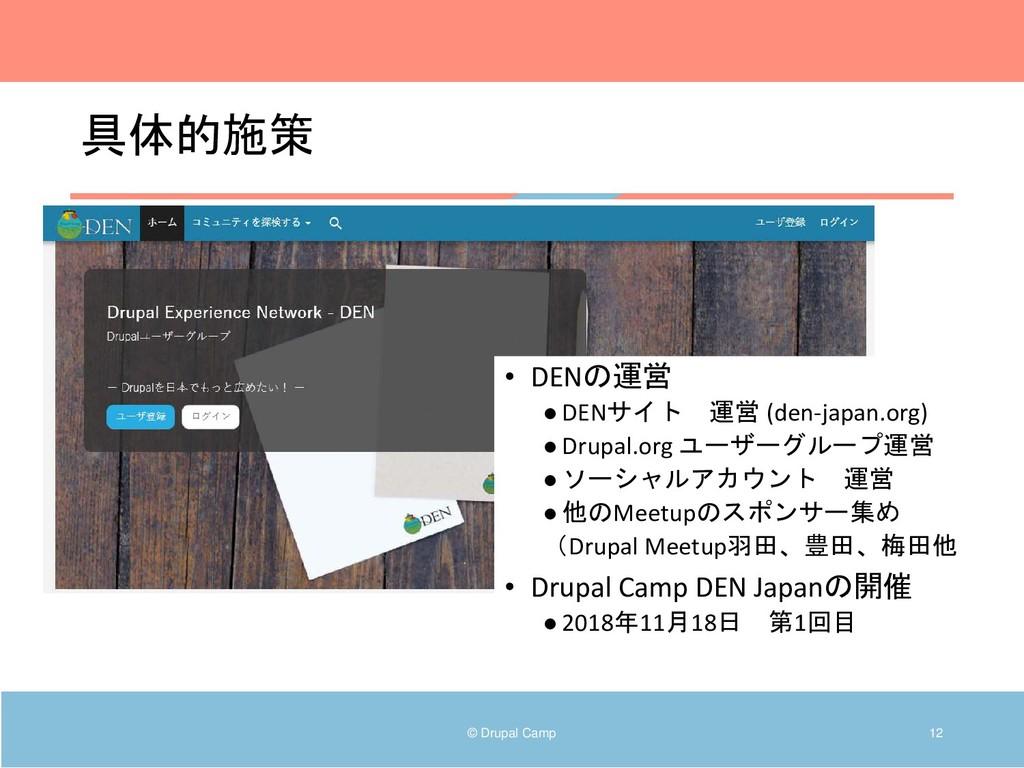具体的施策 © Drupal Camp 12 • DENの運営 ●DENサイト 運営 (den...