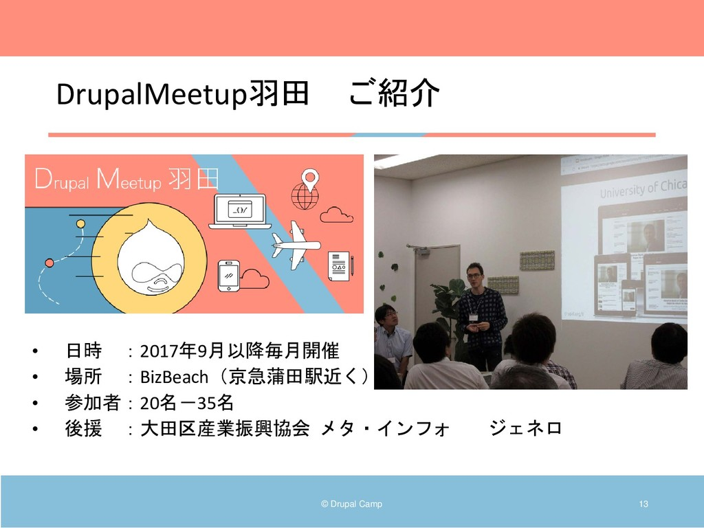 DrupalMeetup羽田 ご紹介 © Drupal Camp 13 • 日時 :2017年...