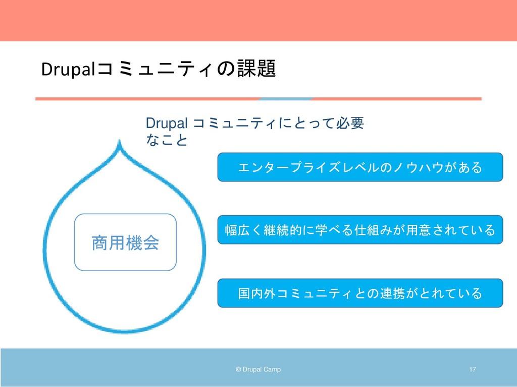 Drupalコミュニティの課題 © Drupal Camp 17 Drupal コミュニティに...