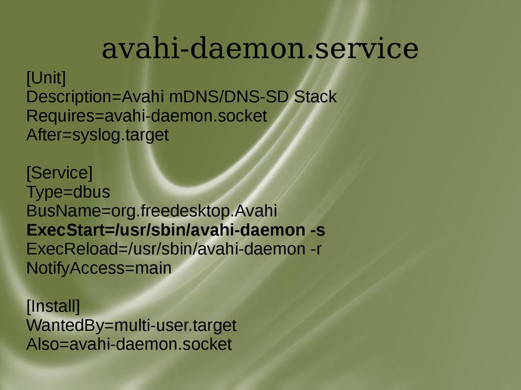 avahi-daemon.service [Unit] Description=Avahi m...