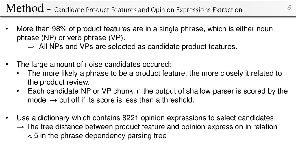 Method - Candidate Product Features and Opinion...