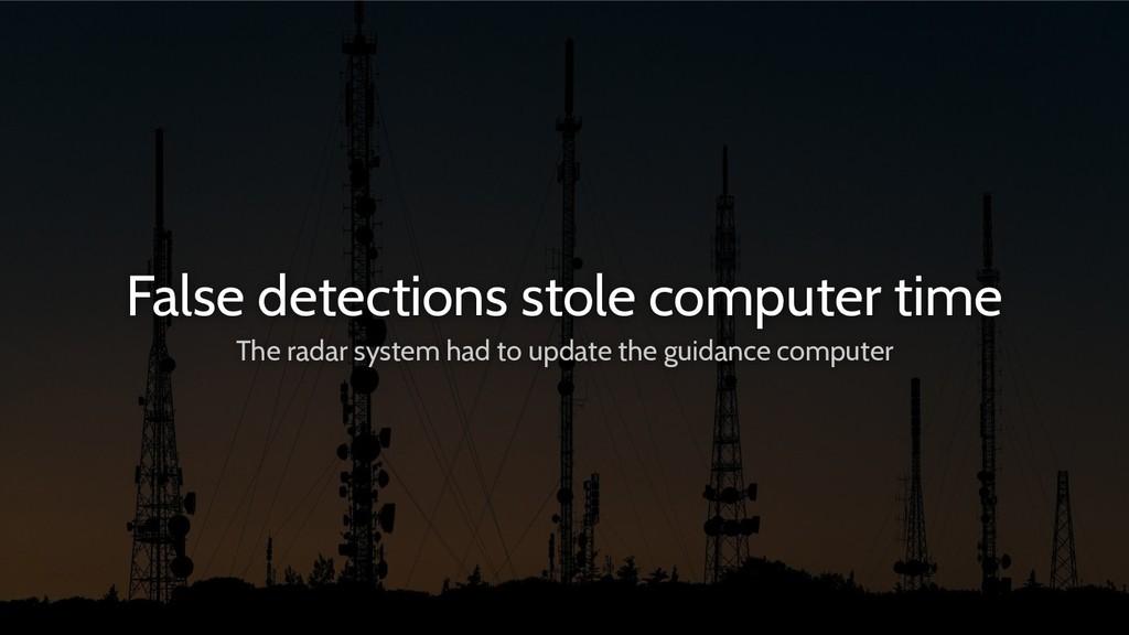 False detections stole computer time The radar ...