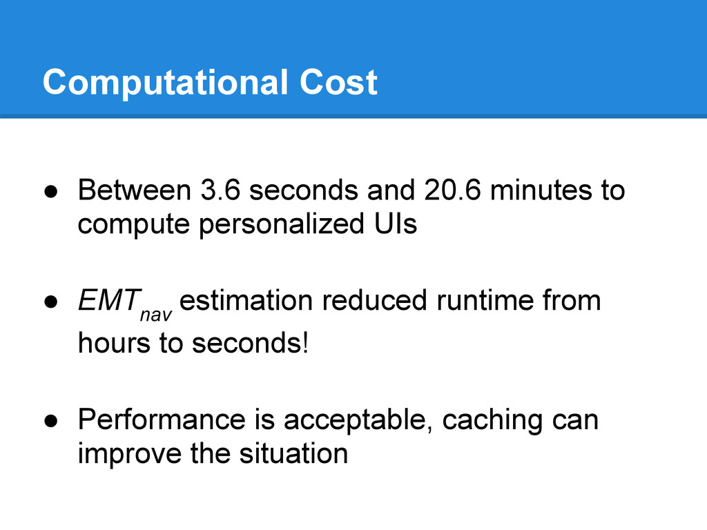 Computational Cost ● Between 3.6 seconds and 20...