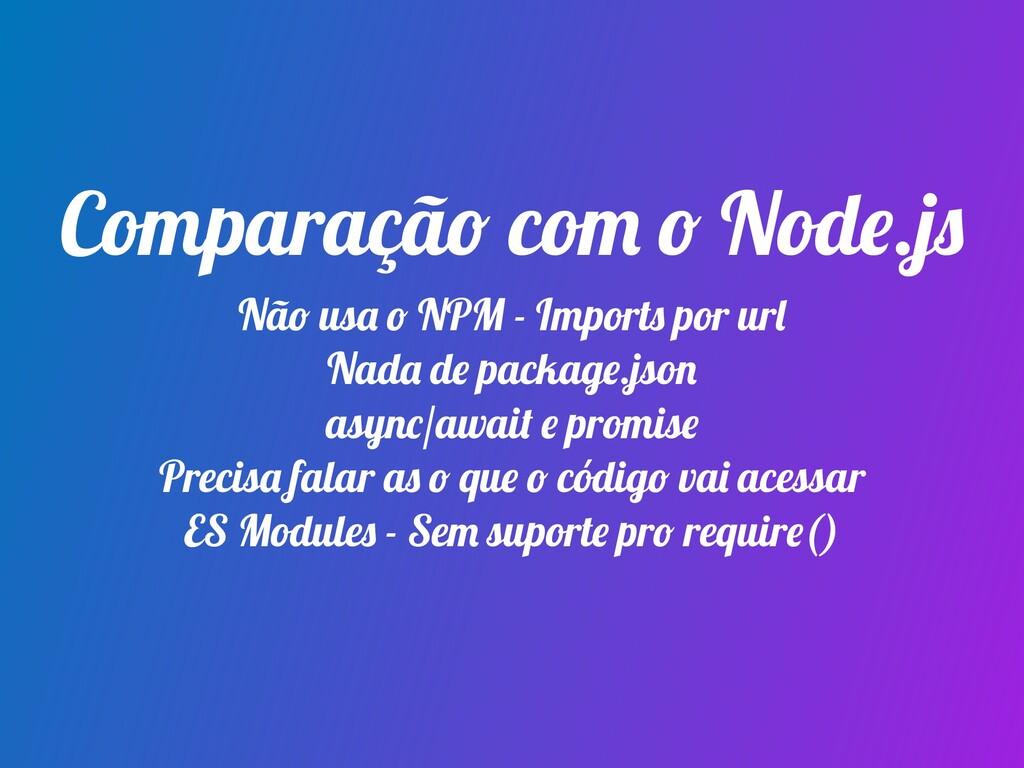 Comparação com o Node.js Não usa o NPM - Import...