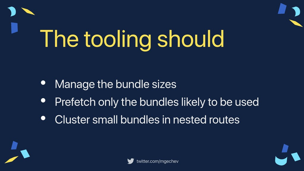 twitter.com/mgechev • Manage the bundle sizes •...